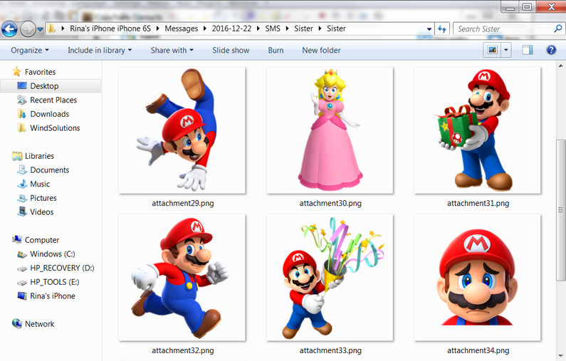 how to save supermariorun imessage stickers to a pc folder