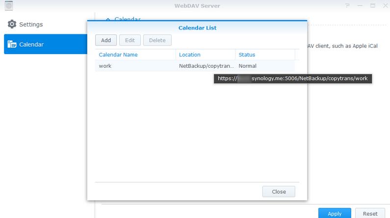 Configure CalDav NAS
