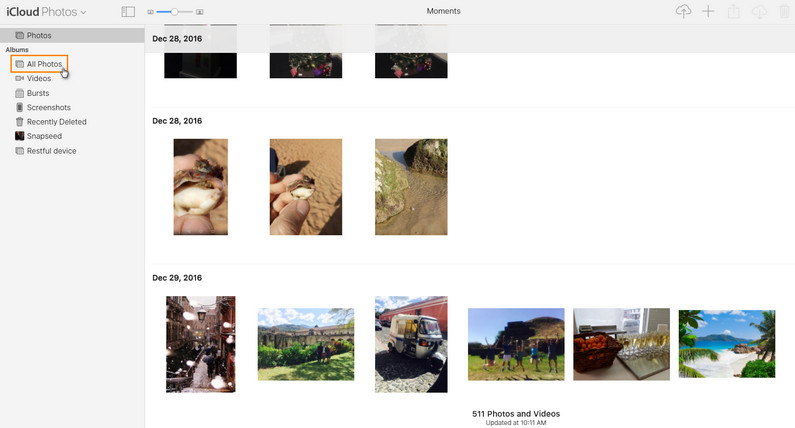In your iCloud, photos are organized by moments.