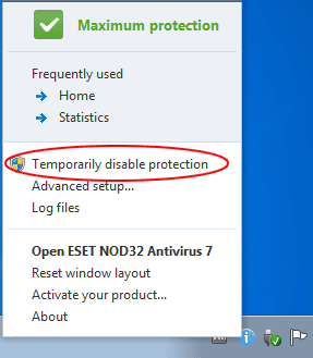 Temporarily disable antivirus protection