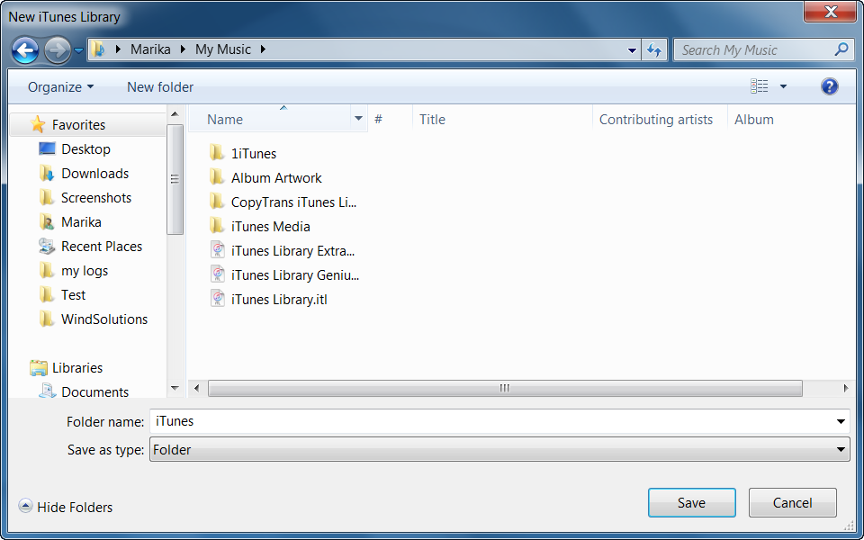 Choose a location for the new iTunes library