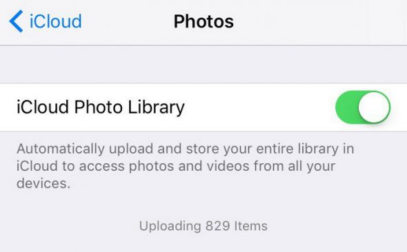 iCloud Photo library is enabled on your Apple device when the toggle is green