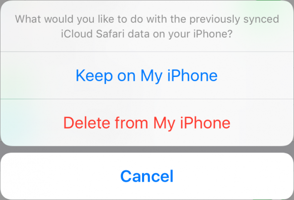 "Select the ""Keep on my iPhone"" option"