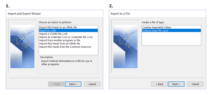 In the newly opened window click export to a file and then choose Outlook Data File (.pst)