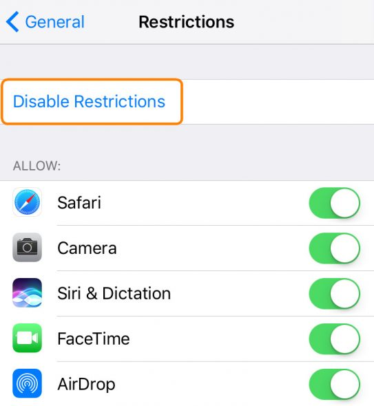 Disable restrictions on your iPhone to see all your messages