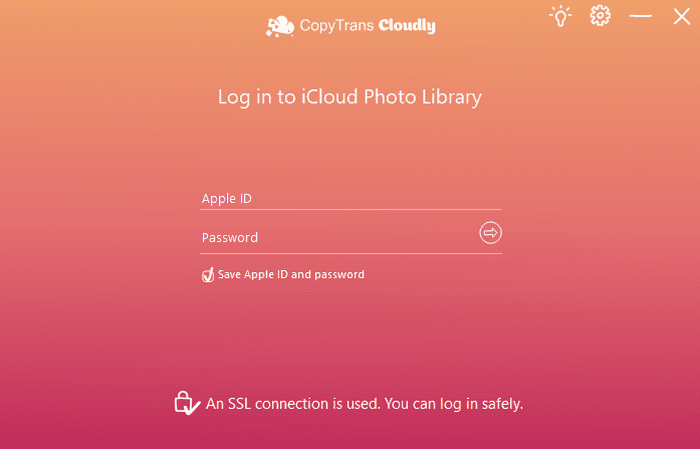 CopyTrans Cloudly authorization screen