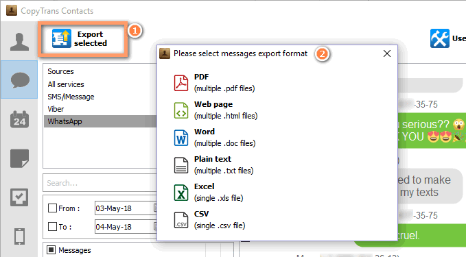 Select the format you want to save your WhatsApp messages