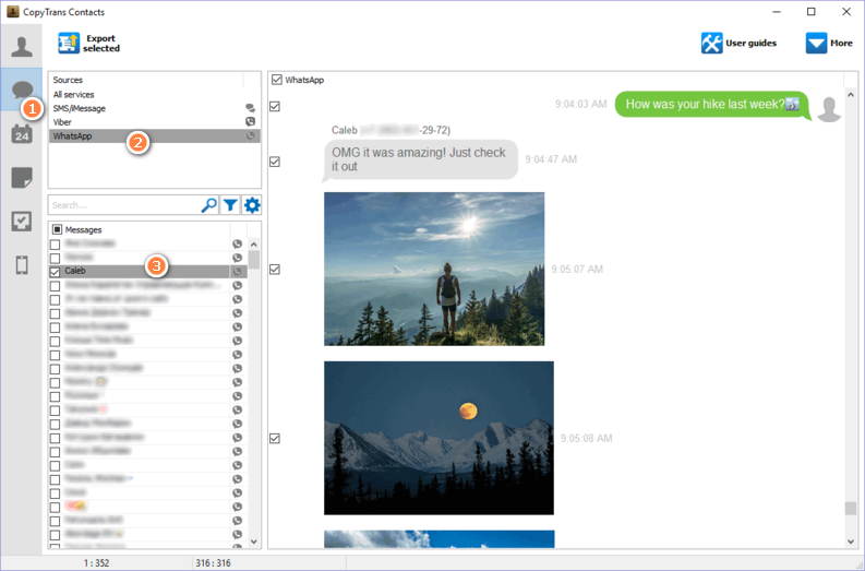 Choose the char with the photos you want to transfer to computer from WhatsApp