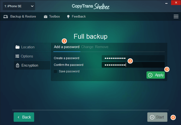 Add a password and confirm it. Hit start to continue with the backup.