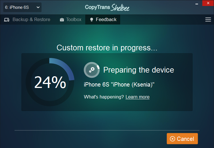 Restoring is in process