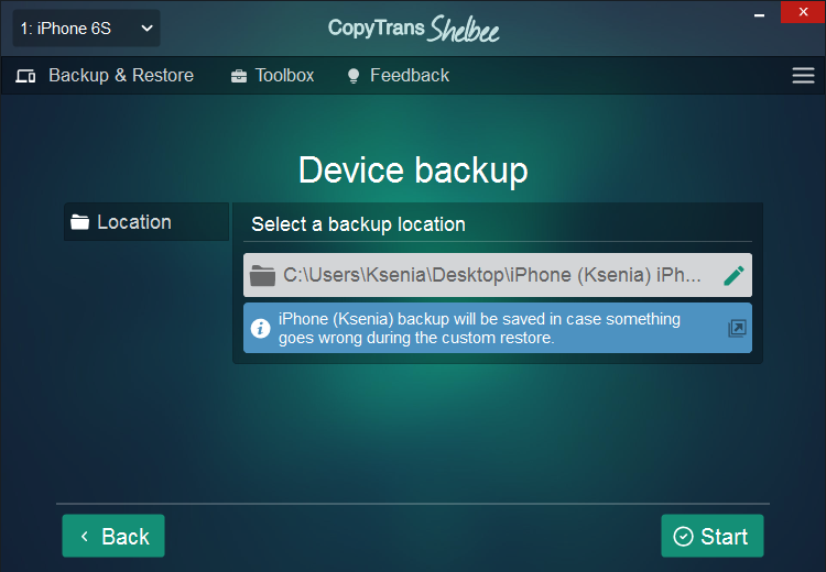 Backup will be saved in case something goes wrong during the custom restore