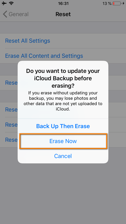 "Select ""Erase now"""