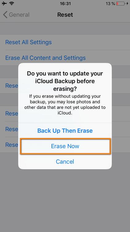 Select Erase now