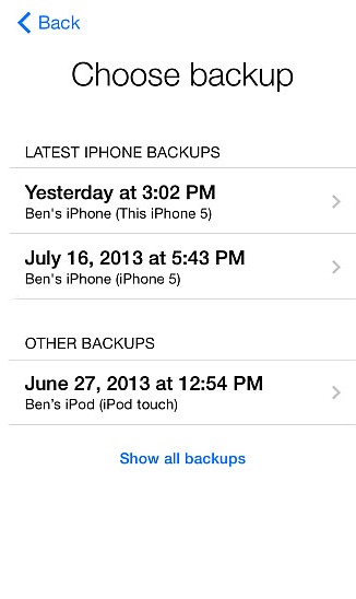Choose the backup that contains the deletes photos from iPhone