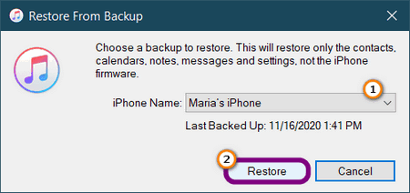 Recover deleted pictures on iPhone from iTunes backup