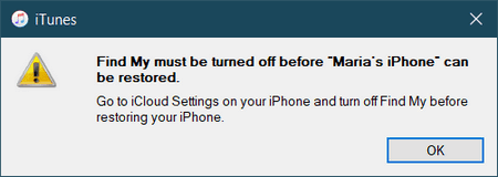 iTunes message Find My iPhone must be turned off