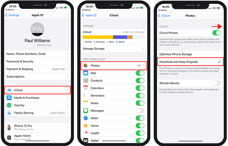 How to get photos from iCloud to iPhone