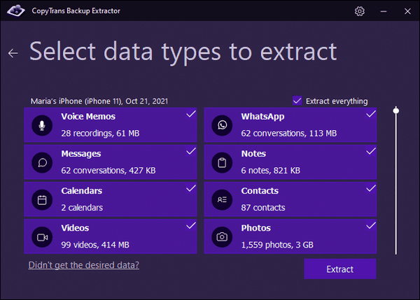 Select data types to extract with CopyTrans Backup Extractor