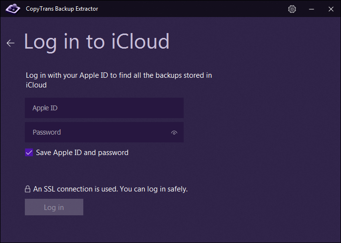 Enter Apple ID and password to access iCloud backups