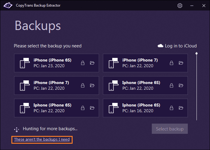 These aren't the backups I need button