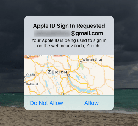 Apple ID sign in requested