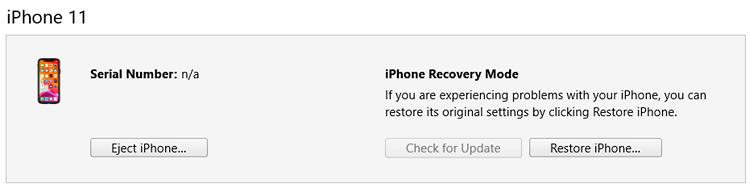 iTunes DFU iPhone restore button