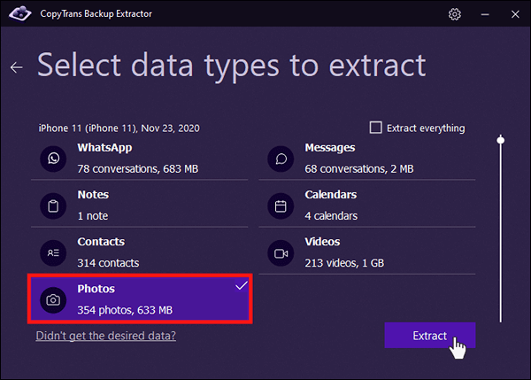 Select photo data type to be extracted