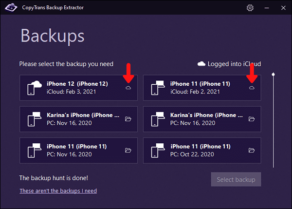 Find iCloud backups with CopyTrans Backup Extractor
