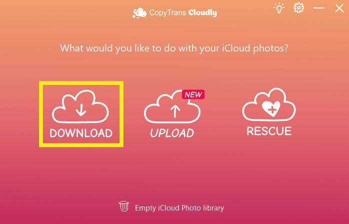 Download photo albums using CopyTrans Cloudly