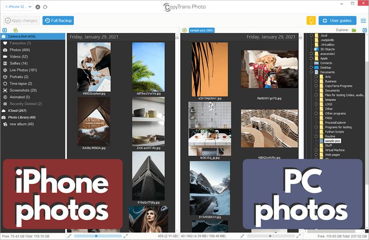 CopyTrans Photo iPhone photos and PC photos