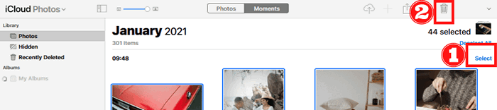Delete iCloud photos by moments