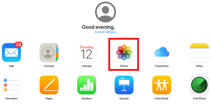 Click on Photos icon in iCloud