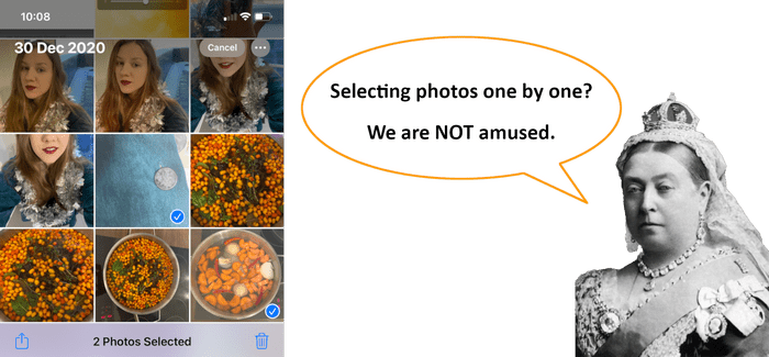 Selecting photos one by one on iPhone