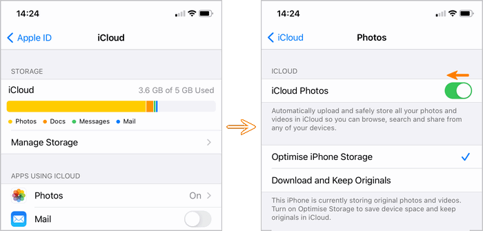 remove photos from iPhone by disabling iCloud