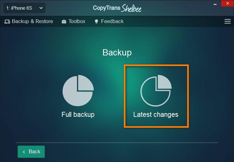 iOS incremental backup with CopyTrans Shelbee