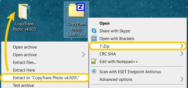 Unpack the ZIP version of a CopyTrans program