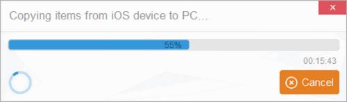 iPad photos backup to computer in progress