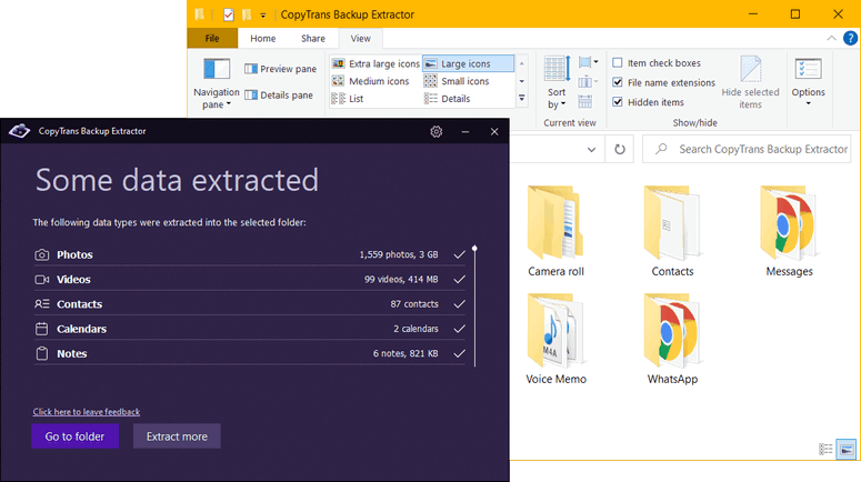 CopyTrans Backup Extractor results in a folder