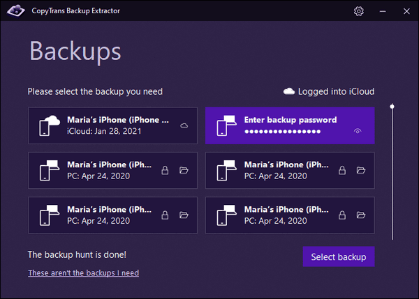 Enter the backup password in CopyTrans Backup Extractor