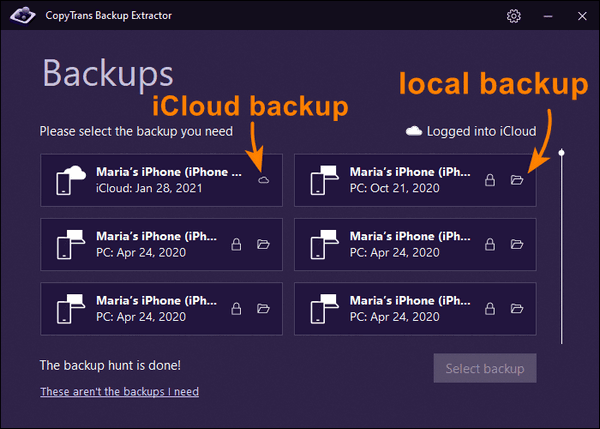 Backups found by CopyTrans Backup Extractor