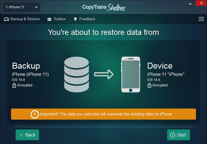 CopyTrans Shelbee backup before restore