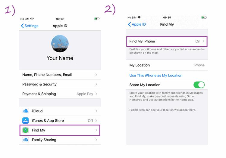 Navigate to Find My iPhone menu