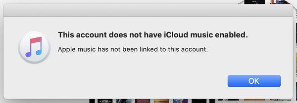iCloud Music is not enabled error