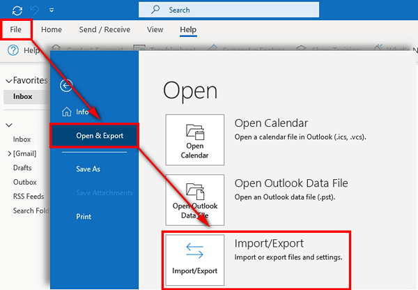 Export contacts from Outlook 2019