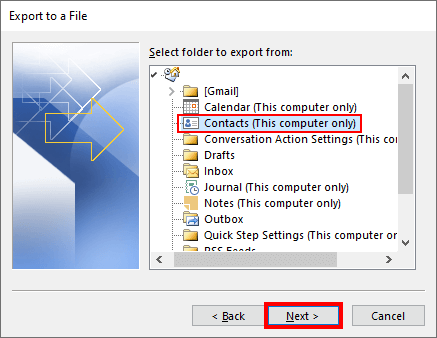 Select Outlook contacts folder