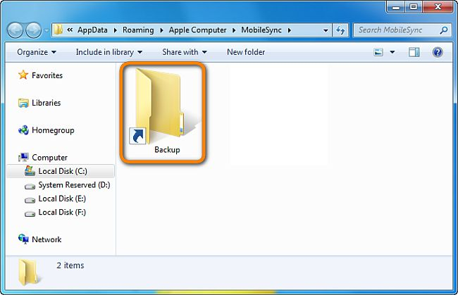 new itunes backup location added
