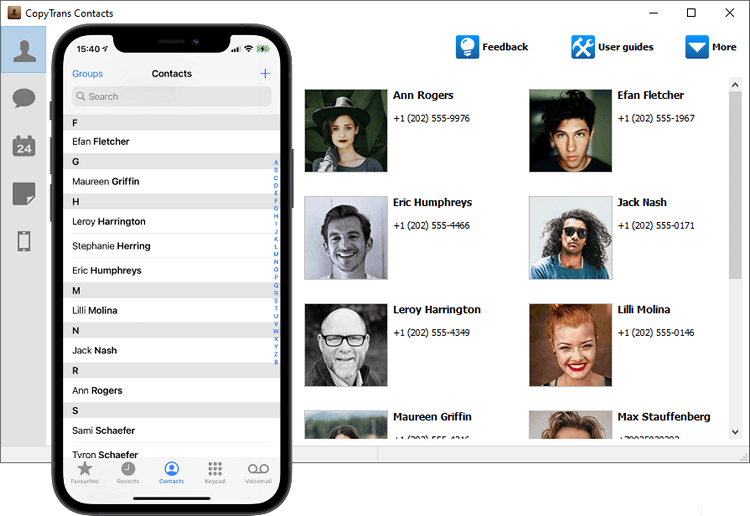 Outlook contacts transferred to iPhone with CopyTrans Contacts