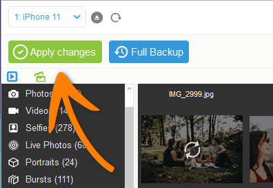 Apply changes in CopyTrans Photo