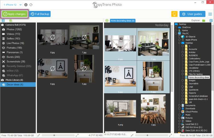 Click Apply changes to finish transferring photos from pc to ipad, iphone