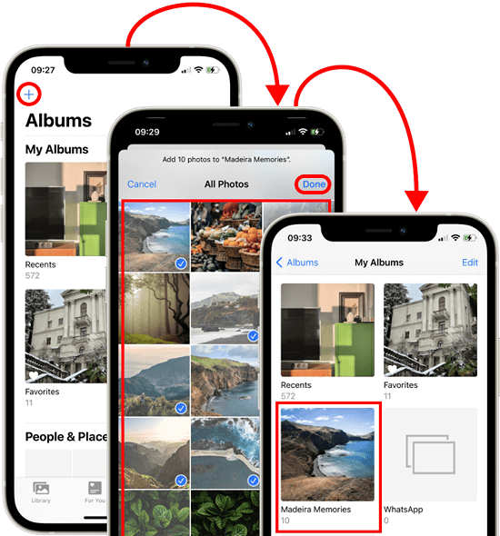 iPhone photo album step-by-step creation process